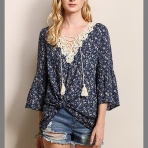 New Tassels N Lace Blue Bell Sleeved Top